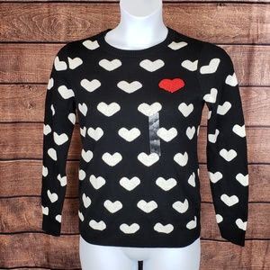 NWT Charter Club Black sweater white & red hearts